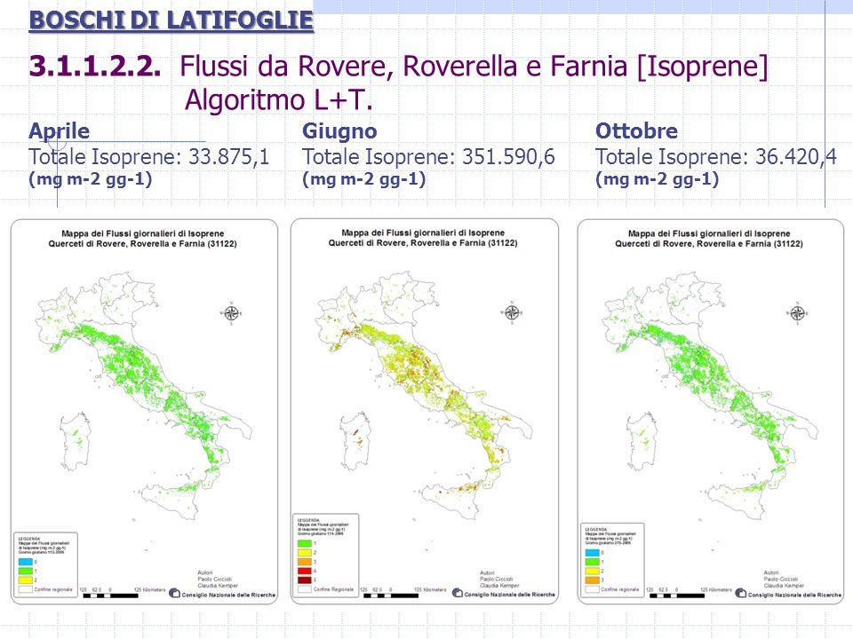 BOSCHI DI LATIFOGLIE 3.1.1.2.2. Flussi da Rovere, Roverella e Farnia [Isoprene] Algoritmo L+T.